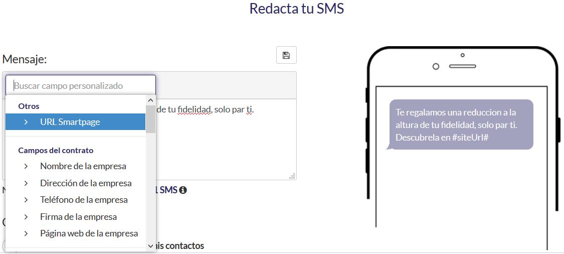 Enlace Landing Page en un SMS