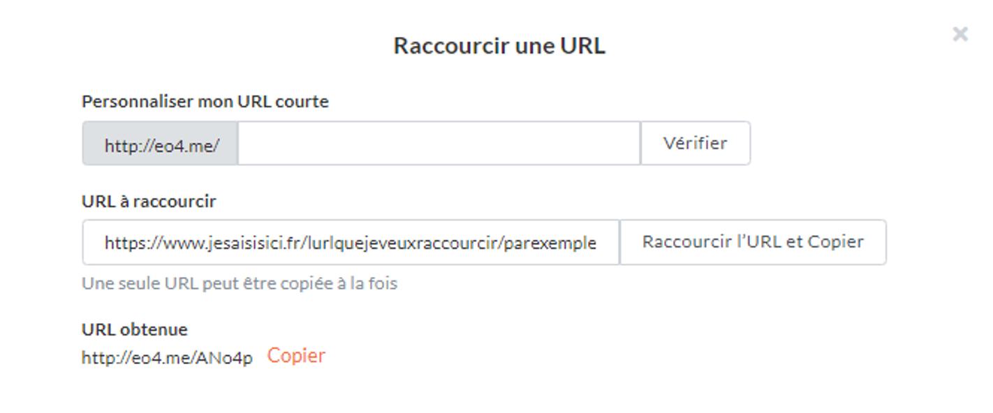 URL Raccourcie