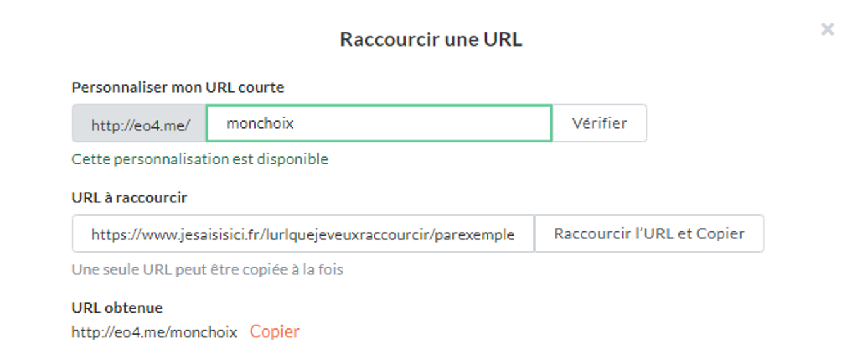URL raccourcie personnalisée