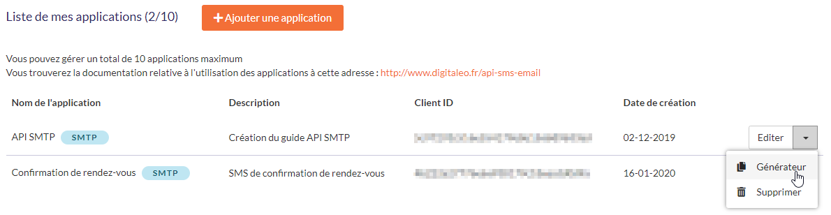 Ligne application API smtp